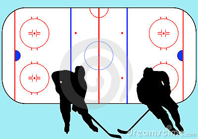 Hockey players and playground illustration