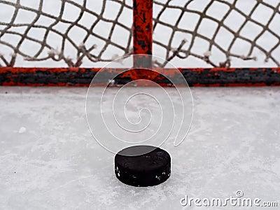 Hockey puck in net