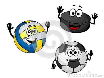 Hockey puck, volleyball and soccer balls