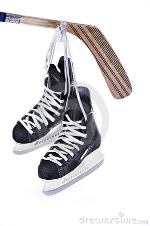 Free Hockey Skates And Stick Royalty Free Stock Photos - 2316638