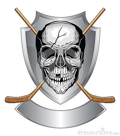 Hockey Skull With Sticks