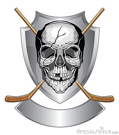 Hockey Skull With Sticks