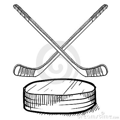 Free Hockey Stick And Puck Sketch Stock Photography - 22354452