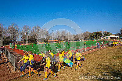 Hockey Teams Girls Play Astro Field Editorial Image