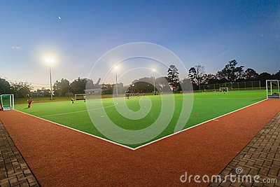Hockey Teenagers Astro Night Practice Editorial Photography