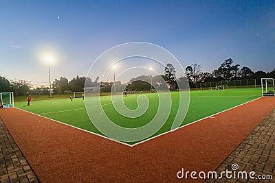 Hockey Teenagers Astro Night Practice Editorial Photography
