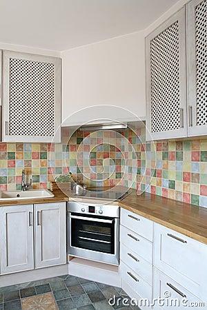 van één hoek van een prettige, moderne keuken met inbegrip van ...