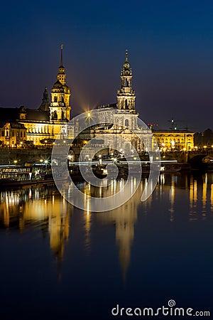 Free Hofkirche Church, Royal Palace -night Skyline-Dresden Germany Royalty Free Stock Image - 60124246