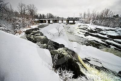 Hog s Back Falls in Ottawa, Canada in Winter