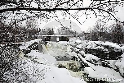 Hog s Back Falls in Ottawa, Canada in Winter