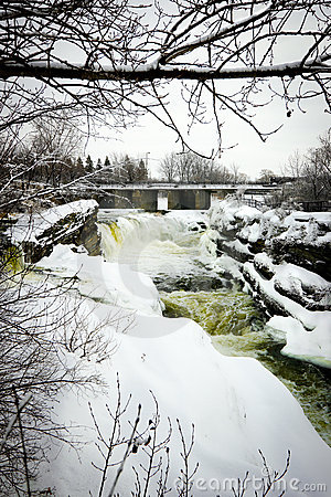 Hog s Back Falls in Ottawa, Canada in Winter.
