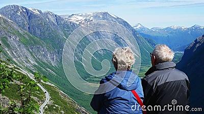 Hoger echtpaar op vakantie in bergen De mens en de vrouw genieten van het zicht op een groene vallei en bergen met sneeuw stock videobeelden