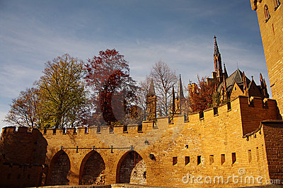 Hohenzollern castle in Swabian during autumn