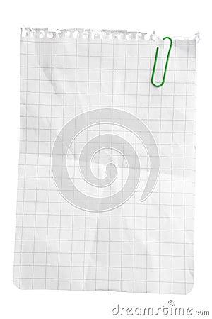 Hoja de papel con el clip de papel