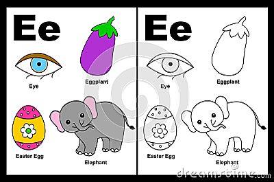 Hoja de trabajo de la letra E