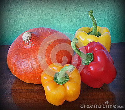 Hokkaido pumpkin and red and yellow peppers