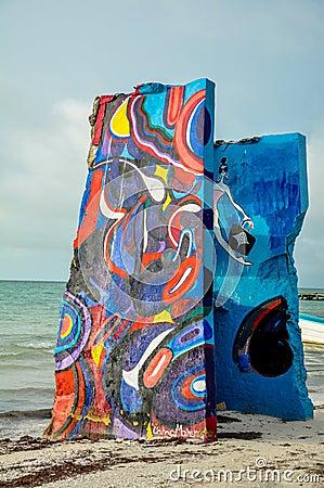 Free HOLBOX, MEXICO - MAY 25, 2018: Beach Artwork Along The Coast Of Small Fishing Town Isla Holbox Stock Image - 118638701