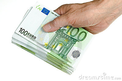 Hold stack of 100 euro in hand