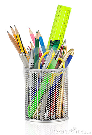 Free Holder Basket And Office Supplies Stock Photography - 32087642