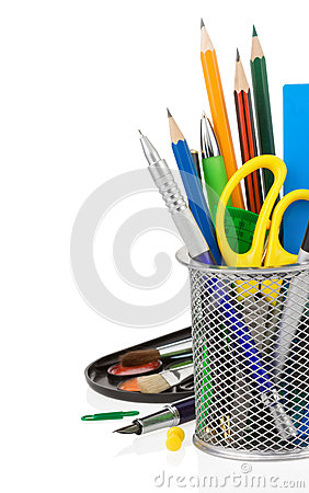 Free Holder Basket And Office Supplies Stock Photography - 32087652