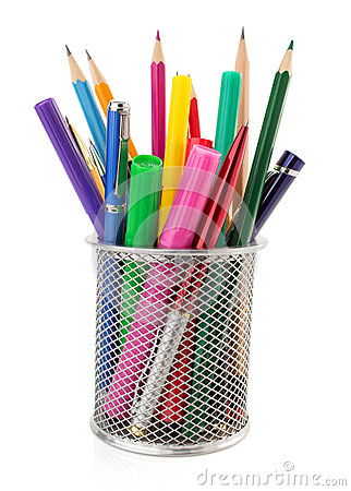 Free Holder Basket And Pen With Pencil Stock Photography - 56900592