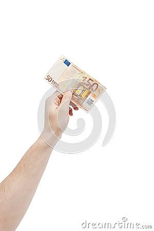 Holding 50 euro bill