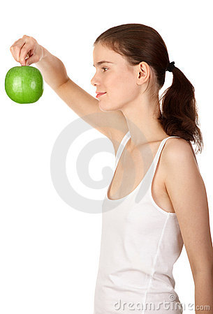 Holding an apple