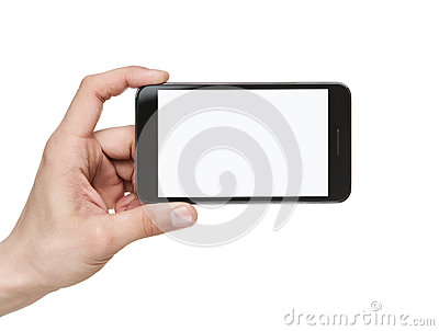 Holding blank smart phone with clipping path