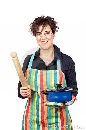Holding a blue pan and wooden