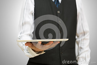 Holding a digital tablet