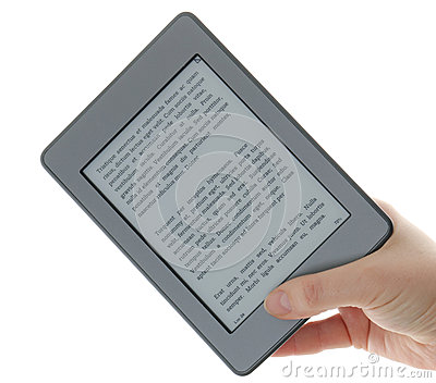 Holding E-book reader in hands