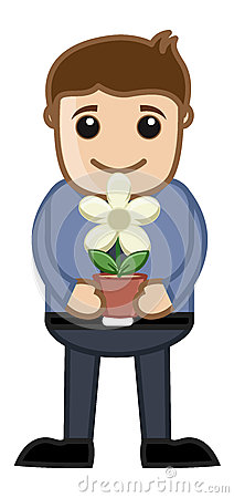Holding a Flower Pot in Hands Vector Illustration