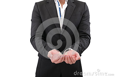 Holding, giving, receiving or showing hand sign