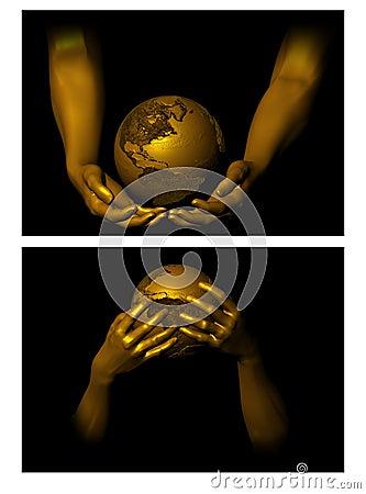 Holding the globe