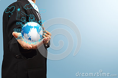 Holding globe ecology concept creative drawing on global
