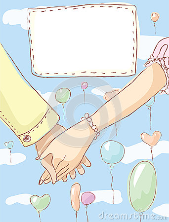 Holding hands. Wedding invitation