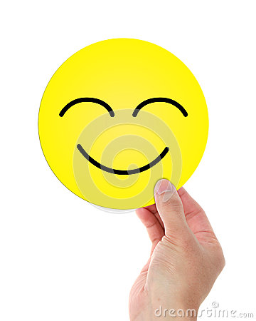 Holding Happy Smiley Face Stock Photo