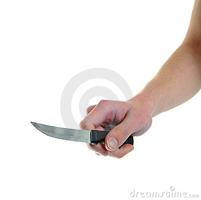 Holding kitchen knife isolated on