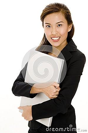 Holding Laptop