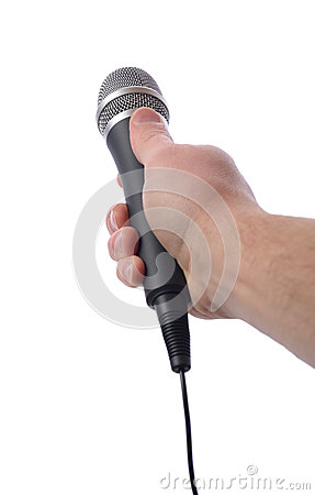 Holding microphone