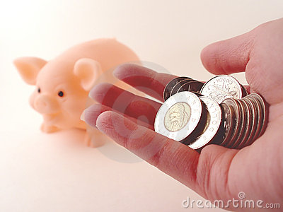 Holding Money and a Piggy Bank