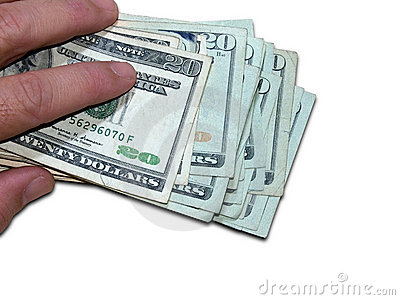 Holding One Thousand Dollars (with clipping path)