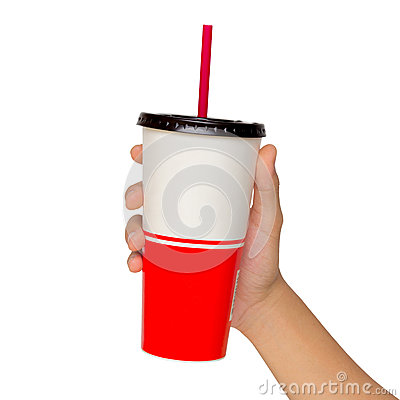 Holding a paper cup with tube isolated