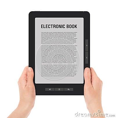 Holding Portable E-Book Reader