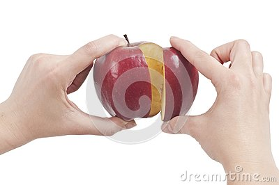 Holding red Apple