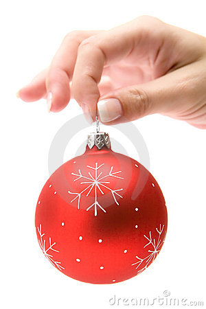 Holding a Red Christmas Tree Ball