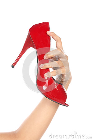 Holding Red Shoe