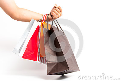 Holding shoping bags by hand