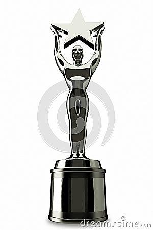 Holding A silver star Award