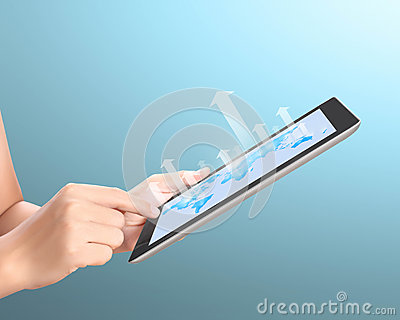 Holding touch screen tablet and  With graph